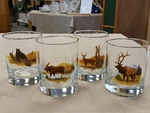 GP832.LBGM - Glass Round Hi-Ball - Full Color Design - Scenic Big Game Animals (Set of 4) GP832.LBGM