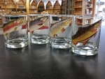 GP832.TRTA - Glass Round DOF - Full Color Design - Trout Series (Set of 4) GP832.TRTA