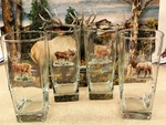GP838.BGMB - Square Beverage Glasses - Big Game Animals (Set of 4) GP838.BGMB