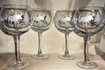 GP10137E.MOSS - Balloon Wine Glass 19oz. - Sand Carved -Moose and Tree Silhouette (Set of 4) GW10137E.MOSS