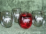 GW10202E.BERS - Stemless Wine Tumblers 3 Size Options - Sand Carved - Bear and Mountain Silhouette (Set of 4) GW10202E.BERS