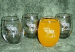 GW10202E.ELK - Stemless Wine Goblets 3 Size Options - Sand Carved - Bugling Elk (Set of 4) GW10202E.ELK