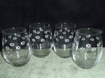 GW10201E.LABAW - Stemless Wine Goblets 3 Size Options - Sand Carved - Lab Paws Wrap  (Set of 4) GW10201E.LABAW