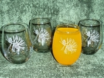GW10202E.PINE3 - Stemless Wine Tumblers 3 Size Options - Sand Carved - Pine Cones GW10202E.PINE3