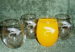 GW10201E.SFLY - Stemless Wine Goblets 3 Size Options - Sand Carved - Salmon Fly (Set of 4) GW10201E.SFLY