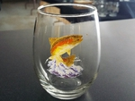 GW10200.JTRT - Stemless Wine 3 Size Options - Dancing Rainbow Trout GW10200.JTRT