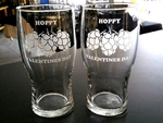 GW10319.HOPSHVD - 20oz. Pub Glass Schooner - Sand Carved - Hoppy Valentines Day GW10319.HOPSHVD