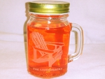 GW10320E.ADK.TA - 16oz. Mason Drinking Jar - Engraved - Adirondack Chair with The Adirondacks Name Drop GW10320E.ADK.TA