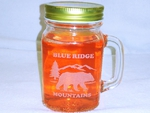GW10320E.BERS.BRM - 16oz. Mason Drinking Jar - Engraved - Bear and Mountain Silhouette with Blue Ridge Mountains Name Drop GW10320E.BERS.BRM