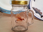 GW10320.EHC - 16oz. Square Mason Drinking Jar - Elk Hair Caddis Dry Fly GW10320.EHC