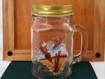GW10320.PCP - 16oz. Square Mason Drinking Jar - Flying Pheasants GW10320.PCP
