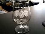 GW10323.HOPSDWBH - 16oz. The Snifter Belgium Craft  - Sand Carved - Hops Dont Worry Be Hoppy GW10323.HOPSDWBH