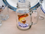 GW10328.JTRT - 22oz. Square Mason Drinking Jar - Dancing Rainbow Trout GW10328.JTRT