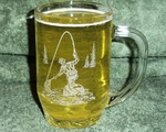 GW409.FFM - Thumbprint Glass Stein - Sand Carved - Fly Fisherman GW409.FFM