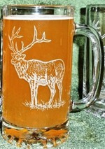 GW410.ELKB -  Glass Tankard Steins - Sand Carved - Elk Body GW410.ELKB