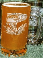 GW410.TRT Glass Tankard Steins - Sand Carved - Rainbow Trout GW410.TRT