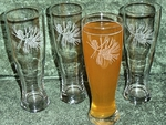 GP420.PINE3 -  Pine Cone Pilsner Glasses 16 oz. - Sand Carved GP420.PINE3
