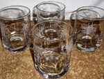 GP428.PINEW - Round Dimpled Hi-Ball Glasses - Sand Carved - Pine Cone (Set of 4) GP428.PINEW