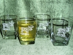 GP434.MOSB - Square Hi-Ball Glasses - Sand Carved - Standing Moose  (Set of 4) GP434.MOSB