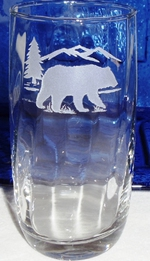 GW443.BERS - Round Optic 17oz. Beverage - Sand Carved Bear and Mountain Silhouette GW443.BERS