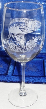 GW10123E.TRT - 19oz. Tulip White Wine  - Sand Carved Rainbow Trout GW10123E.TRT