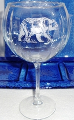 GW10137E.BLKB - Balloon Wine Glass 19oz. - Sand Carved -Black Bear GW10137E.BLKB