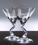 GP485.RLY - Glass Z-Stem Martini Glasses - Sand Carved - Royal Wulff Dry Fly (Set of 4) GW485.RLY