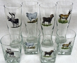 GP834.NBGM - Square Hi-Ball Glasses - Full Color Design - New Big Game Animals  (Set of 4) GW834.NBGM