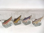 GP834.TRTA - Square Hi-Ball Glasses - Trout Series (Set of 4) GP834.TRTA