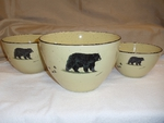 LC10277.BLKBTRX - Lodge Collection 3pc Black Bear Serving/Mixing Bowl Set LC10277.BLKBTRX