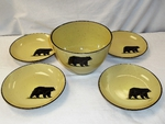 LC10278.BLKB - Lodge Collection 5pc Black Bear Pasta/Salad Set LC10278.BLKB