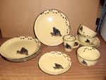 LC10032.LBBTRX - 16pc Lodge Collection Bear on Log with Tracks Dinnerware Set  LCDW.LBBTRX