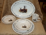 OS10220.LWDANT - 16pc Outdoor Sportsman Whitetail Deer with Antlers Dinnerware Set OS10220.LWDANT