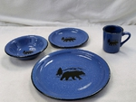 RP10326.BERS - 16pc. Rustic Pioneer Stoneware Dinnerware Set - Bear and Mountain Silhouette RP10326.BERS