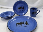 RP10326.MOSS - 16pc. Rustic Pioneer Dinnerware Set - Moose and Tree Silhouette RP10326.MOSS