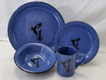 RP10326.PCPS - 16pc. Rustic Pioneer Stoneware Dinnerware Set - Pheasant Scene Silhouette RP10326.PCPS