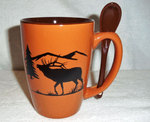 SB10301.ELKS - Terracotta Rust with Bugling Elk Silhouette SB10301_ELKS