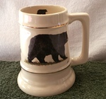 SS10305.BLKB - 24 oz. Gold Band Collector Stein  - Standing Black Bear with Tracks SS10305.BLKB