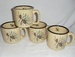 GP10148.PINE3 - Almond 15oz Pine Cone Trail Mugs (set of 4) GP10148.PINE3