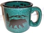 TM10149.BERSTRX - 15oz Dark Green Trail Mug - Bear Silhouette w/Tracks TM10149.BERSTRX