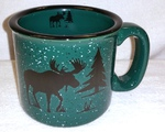 TM10149.MOSS - 15oz Dark Green Trail Mug - Moose and Tree Silhouette TM10149.MOSS