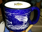 TM10152.FSHW - 15oz Cobalt Blue Trail Mug - White Silhouette Fish Wrap with Trout on Inside Lip TM10152.FSHW