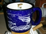 TM10152.FSHW - 15oz Cobalt Blue Trail Mug - White Silhouette Fish Wrap with Dancing Trout on Inside Lip TM10152.FSHWJTRT