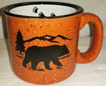 TM10157.BERSTRX - 15oz Terra Cotta Trail Mug - Black Bear Silhouette W/Tracks TM10157.BERSTRX