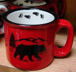 TM10158.BERSTRX - 15oz Red Trail Mug - Black Bear Silhouette W/Tracks TM10158.BERSTRX