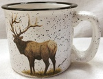 TM10178.ELKB - 15oz White Trail Mug - Standing Big Game Elk TM10178.ELKB