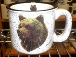 TM10178.GRZA - 15oz White Trail Mug - Grizzly Bear Head TM10178.GRZA