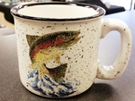 TM10178.JTRT - 15oz White Trail Mug - Jumping Rainbow Trout TM10178.JTRT