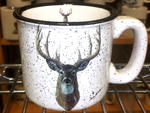 TM10178.WTDA - 15oz White Trail Mug - Whitetail Deer Head TM10178.WTDA
