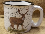 TM10178.WTDB - 15oz White Trail Mug - Standing Whitetail Deer TM10178.WTDB